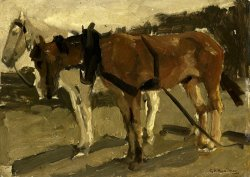 A Brown And a White Horse in Scheveningen by George Hendrik Breitner