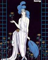 'la Roseraie' Fashion Design For An Evening Dress By The House Of Worth by Georges Barbier