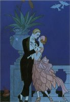 By The Railing 1921 by Georges Barbier