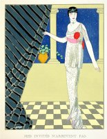My Guests Have Not Arrived Illustration of a Woman in a Dress by Redfern by Georges Barbier
