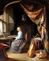 A Woman Playing a Clavichord by Gerrit Dou