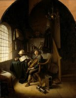An Interior with a Young Violinist by Gerrit Dou