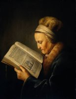 Old Woman Reading a Lectionary by Gerrit Dou