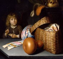 Still Life with a Boy Blowing Soap Bubbles by Gerrit Dou