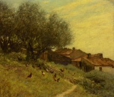 A Hillside Village in Provence by Henry Herbert La Thangue