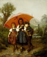 Children Under a Red Umbrella by Henry Mosler