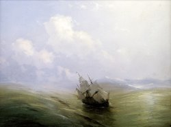 A Sailing Boat in a Heavy Swell by Ivan Ayvazovsky