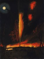 Burning Oil Well at Night, Near Rouseville, Pennsylvania by James Hamilton