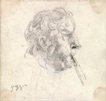 Head of a Man Blowing a Pipe by James Ward