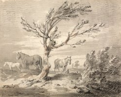 Landscape with Three Horses And a Tree in The Foreground by James Ward