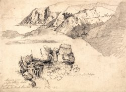 Studies of a Hilly Coast, And a Rocky Waterfall by James Ward