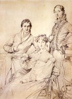 Jospeh Woodheda And His Wife, Born Harriet Comber, And Her Brother, Henry George Wandesford Comber by Jean Auguste Dominique Ingres