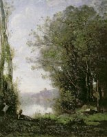 The Goatherd beside the Water by Jean Baptiste Camille Corot
