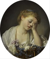 A Girl with a Dead Canary by Jean-baptiste Greuze