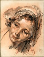 Head of Smiling Girl, C. 1765 by Jean-baptiste Greuze