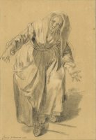 Old Woman with Arms Outstretched (study for The Neapolitan Gesture) by Jean-baptiste Greuze