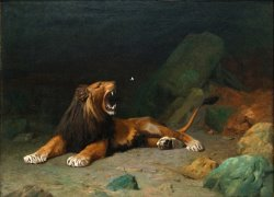 Lion Snapping at a Butterfly by Jean Leon Gerome