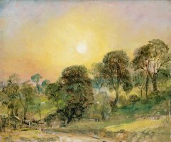 Trees on Hampstead Heath at Sunset by John Constable