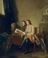 Portrait of a Man And a Boy Looking at Prints by John Hamilton Mortimer