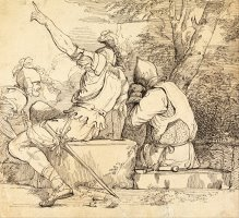Three Soldiers in Armour Sitting on Stone Blocks by John Hamilton Mortimer