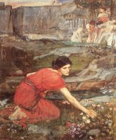 Maidens Picking Flowers by The Stream (study) by John William Waterhouse