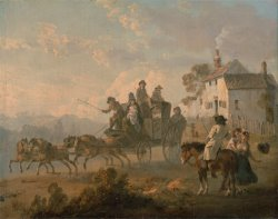 A Stage Coach on a Country Road by Julius Caesar Ibbetson