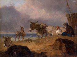 Donkeys And Figures on a Beach by Julius Caesar Ibbetson