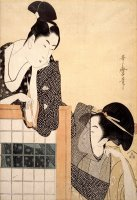 Couple with a Standing Screen by Kitagawa Utamaro