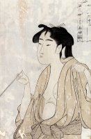 Woman Smoking a Pipe by Kitagawa Utamaro