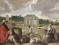Peasants in a Landscape by Louis Le Nain