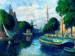 Barges on a Canal at Rotterdam by Maximilien Luce