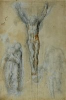 Christ on The Cross Between The Virgin Mary And Saint John by Michelangelo Buonarroti