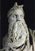 Moses Detail From The Tomb of Pope Julius II Rovere in San Pietro in Vincoli Rome by Michelangelo Buonarroti