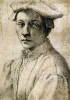Portrait of Andrea Quaratesi Around 1532 Black Chalk on Paper by Michelangelo Buonarroti