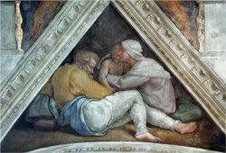 Sistine Chapel Ceiling The Ancestors of Christ Pre Restoration by Michelangelo Buonarroti
