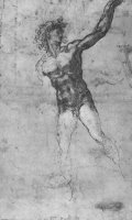 Sketch of a Nude Man Study for The Battle of Cascina by Michelangelo Buonarroti