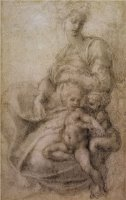 The Virgin And Child with The Infant Baptist C 1530 by Michelangelo Buonarroti