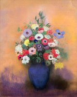 Anemones And Lilac In A Blue Vase by Odilon Redon