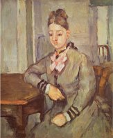 Madame Cezanne Leaning on a Table 1873 77 by Paul Cezanne