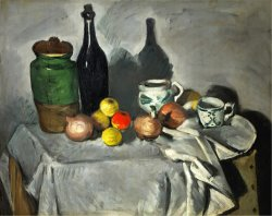 Still Life Pots Bottle Cup And Fruit Circa 1871 by Paul Cezanne