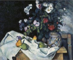 Still Life with Flowers And Fruits by Paul Cezanne
