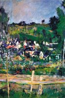 Village Behind The Fence by Paul Cezanne