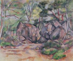Woodland with Boulders 1893 by Paul Cezanne