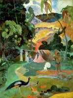 Matamoe or Landscape with Peacocks by Paul Gauguin