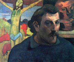 Portrait of The Artist with The Yellow Christ by Paul Gauguin