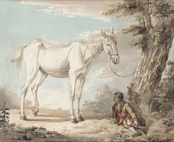 An Old Grey Horse Tethered To A Tree A Boy Resting Nearby by Paul Sandby