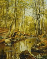 A Wooded River Landscape by Peder Monsted