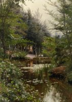 A Lady Reading by a Lake by Peder Mork Monsted