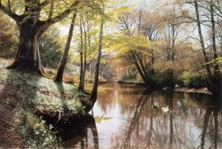 A River Landscape in Springtime by Peder Mork Monsted
