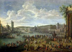View of The Louvre And The Tour De Nesles From The Ile De La Cite by Pieter Casteels II